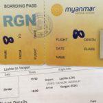ミャンマー国内線の手書き搭乗券